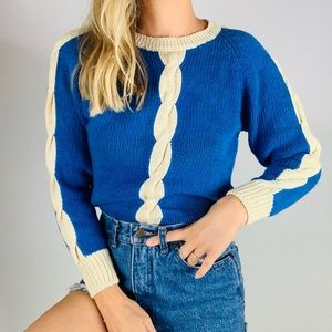 Vintage Cotton Blue Cable Knit Crewneck Sweater